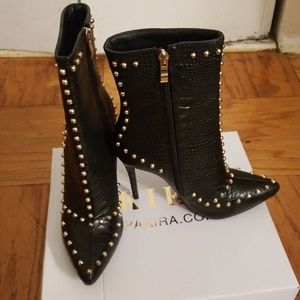 Black croc studded bootie